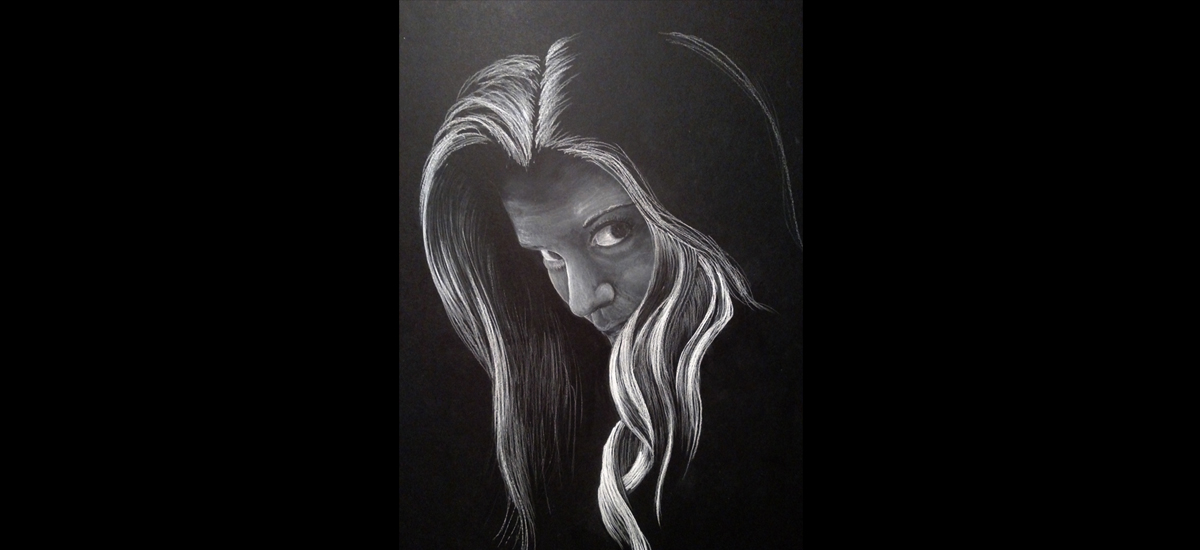 Drawing of my Daughter Allee - White Charcoal on Black Strathmore Paper - Augustana College Senior Inquery Project - 2016-17