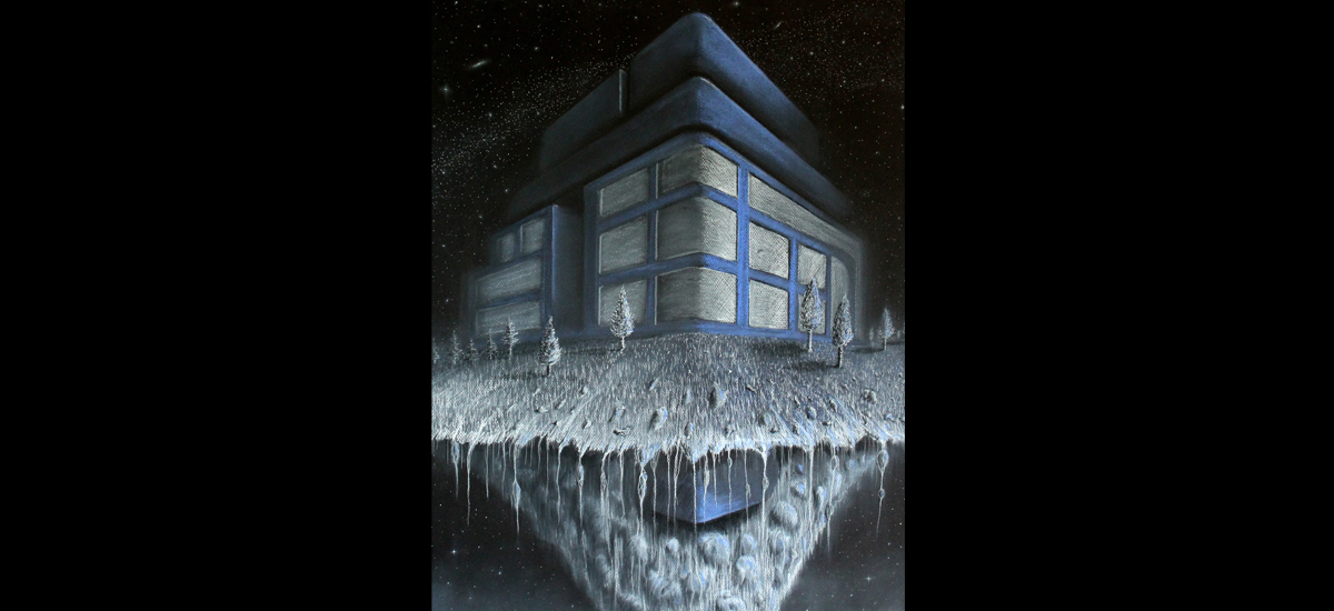 "Floating House - 19"" x 25"" White and Blue Pastel on Black Stratmore Paper - Black Hawk College 2 Dimensional Art Class - 2014"
