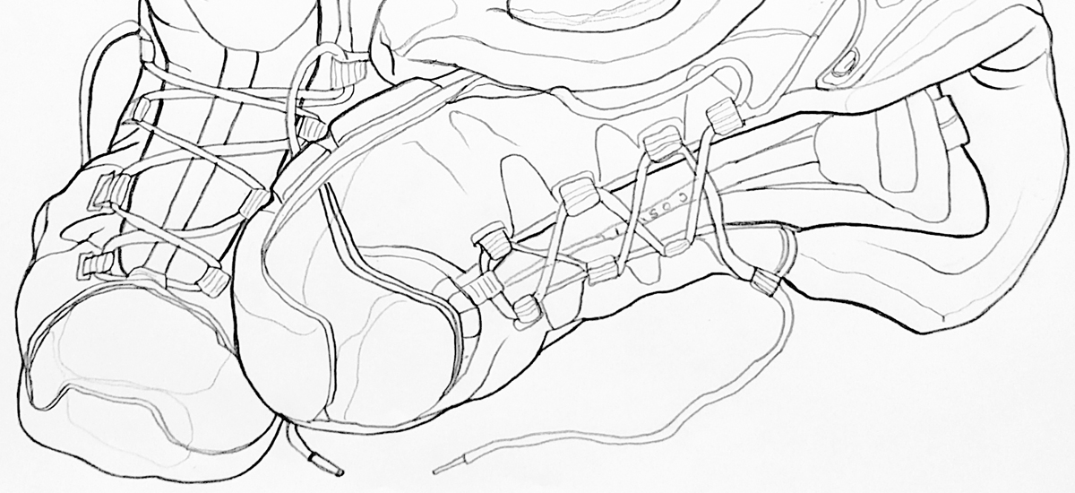 "Sneakers - Line Drawing - 19"" x 25"" Graphite on White Paper - Black Hawk College 2 Dimensional Art Class - 2014"
