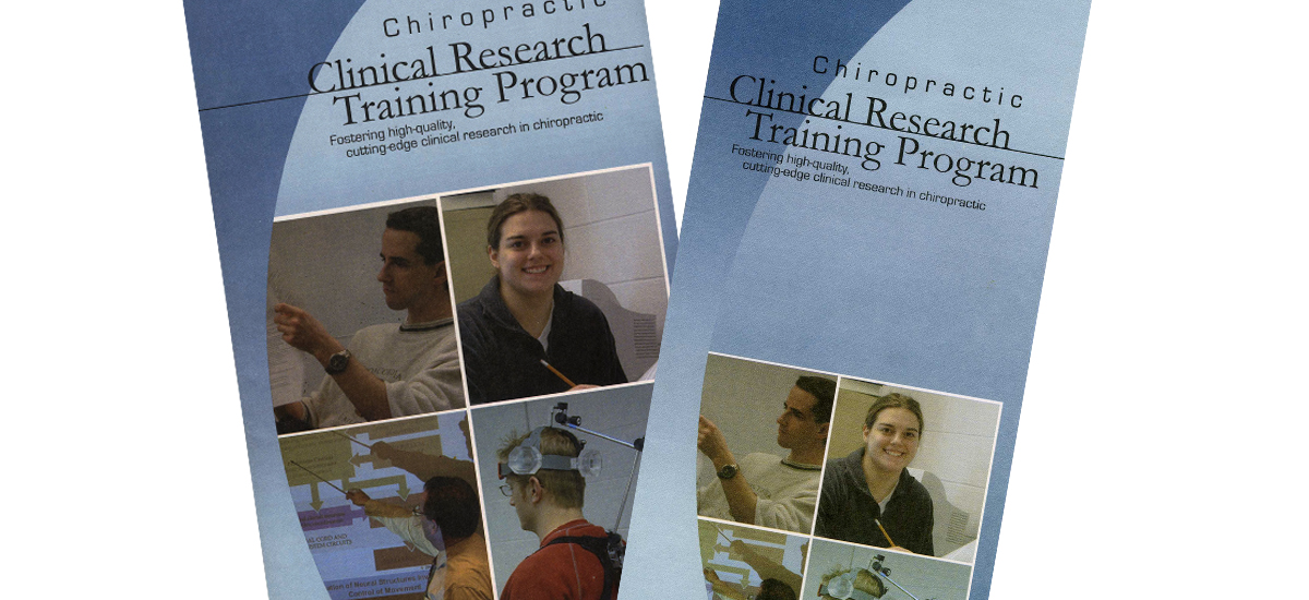 Clinical Research Poster and Brochure - Palmer College - Adobe Illustrator 10 - 2005. Printed pieces that were distributed throughout the Palmer College campus to inform potential students of the Clinical Research Training Program.