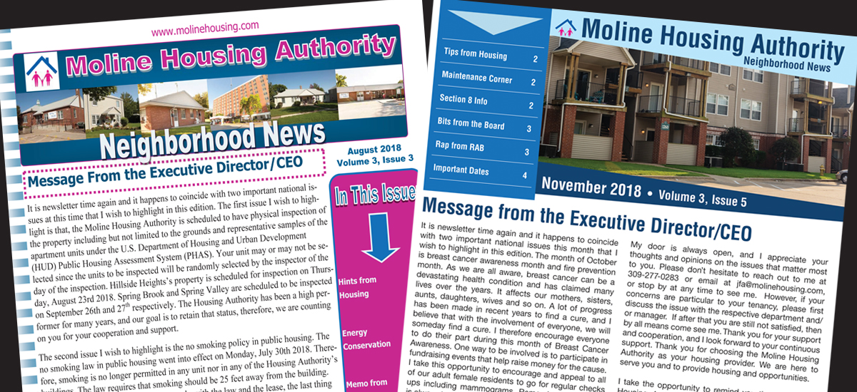 Moline Housing Authority Newsletter Re-design. Adobe InDesign CC - 2018
